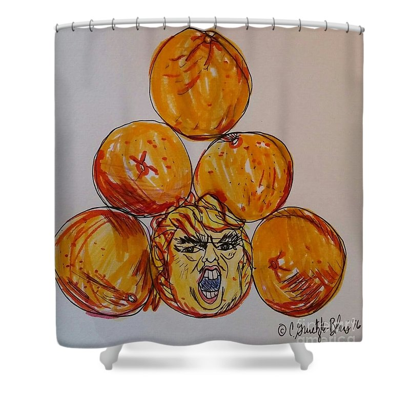 Trump Shower Curtain featuring the painting Careful Which You Pick by Catherine Gruetzke-Blais