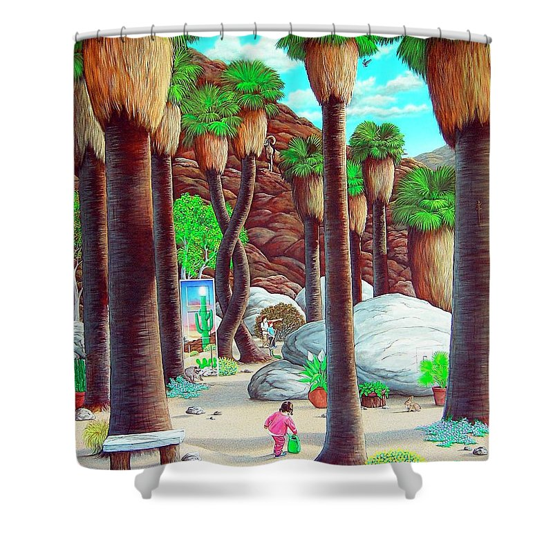 Canyon Shower Curtain featuring the painting Caretaker by Snake Jagger