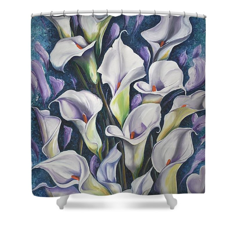 Caribbean Shower Curtain featuring the painting Caribbean Callas by Karin Dawn Kelshall- Best