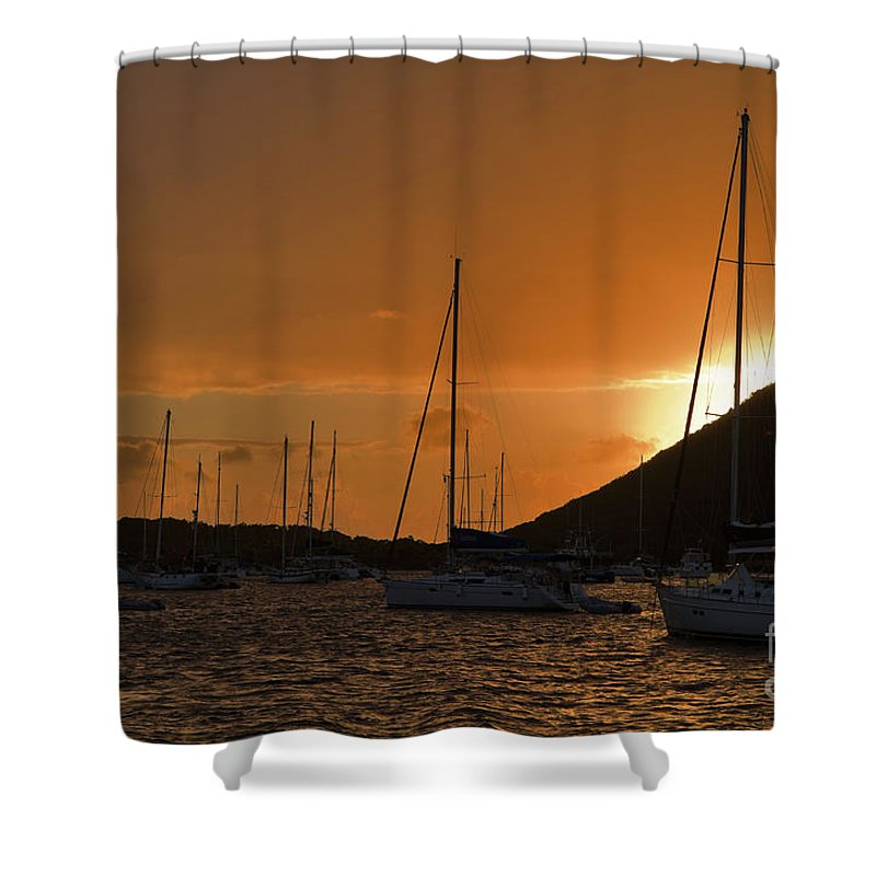 Trellis Bay Shower Curtain featuring the photograph Caribbean Dawn by Louise Heusinkveld
