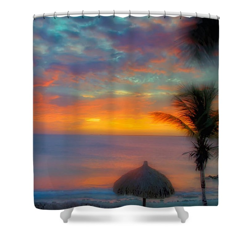 Sunset Shower Curtain featuring the photograph Caribbean Dreams by Stephen Anderson