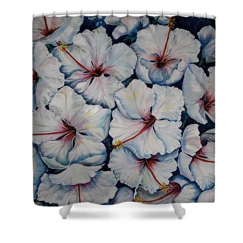 White Hibiscus Shower Curtain featuring the painting Caribbean Hibiscus by Karin Dawn Kelshall- Best