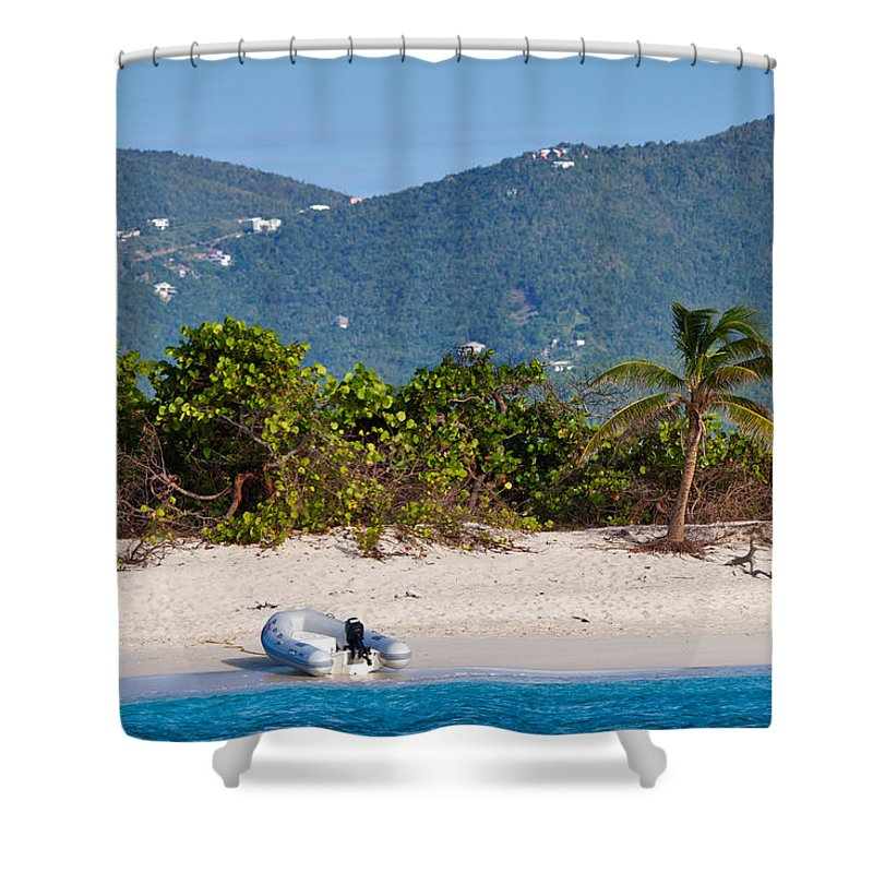 Sandy Spit Shower Curtain featuring the photograph Caribbean Island by Louise Heusinkveld