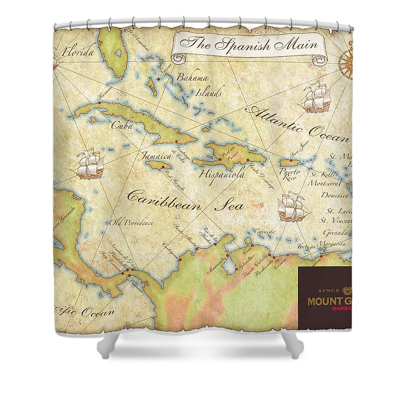 Map Shower Curtain Featuring The Digital Art Caribbean II By Unknown