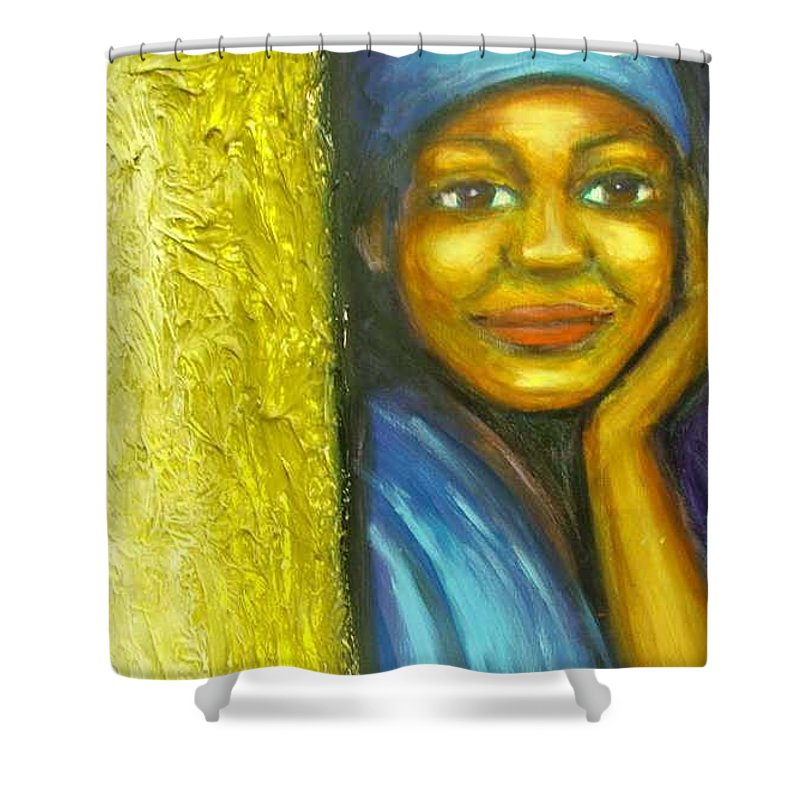 Shower Curtain featuring the painting Caribbean Mystery Lady by Jan Gilmore