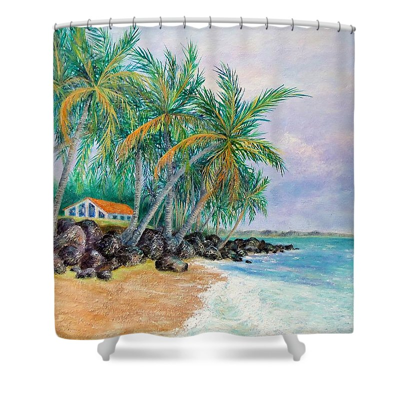 Sue Delain Shower Curtain featuring the painting Caribbean Retreat by Susan DeLain