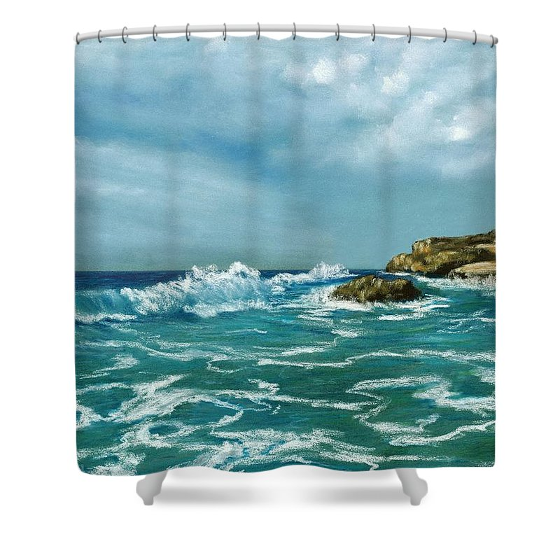 Beach Shower Curtain Featuring The Painting Caribbean Sea By Anastasiya Malakhova