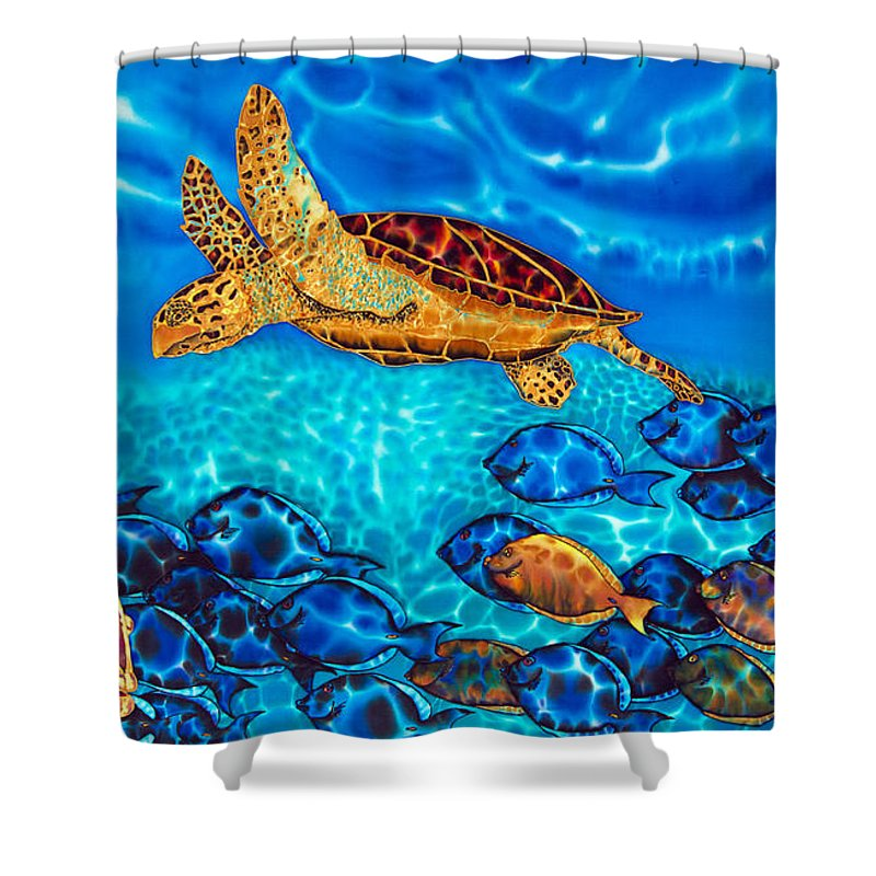 Sea Turtle Shower Curtain Featuring The Painting Caribbean Sea Turtle And  Reef Fish By Daniel Jean
