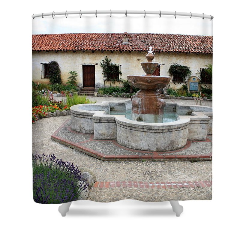 Catholic Shower Curtain featuring the photograph Carmel Mission Courtyard by Carol Groenen