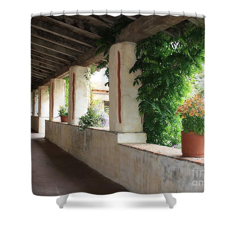 Carmel Mission Walkway Shower Curtain featuring the photograph Carmel Mission Walkway by Carol Groenen