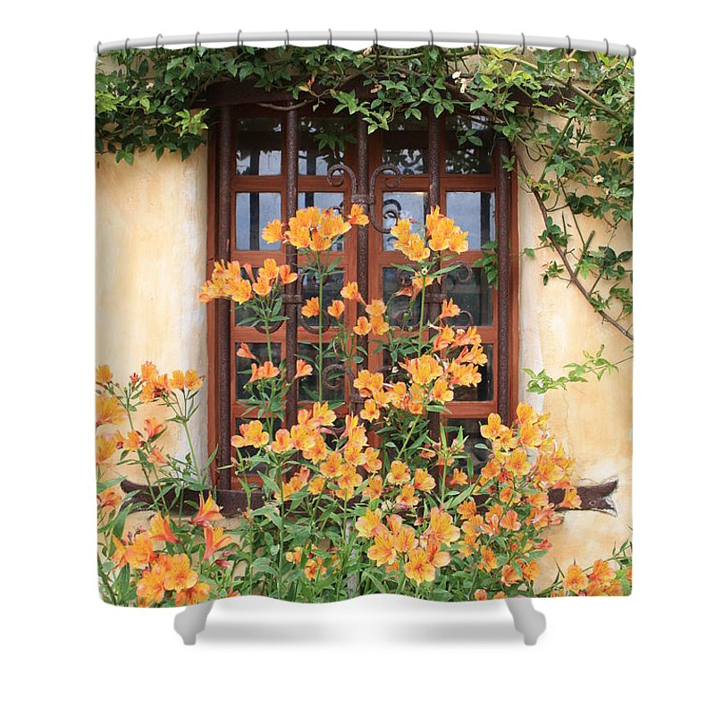 Alstroemeria Shower Curtain featuring the photograph Carmel Mission Window by Carol Groenen
