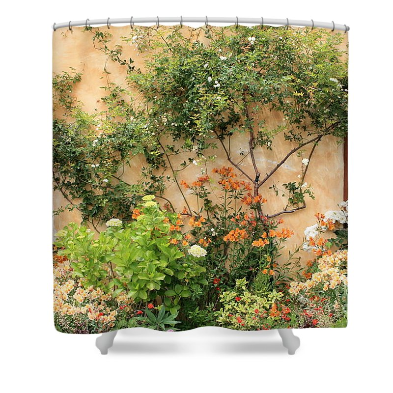 Carmel Mission Shower Curtain featuring the photograph Carmel Mission Windows by Carol Groenen