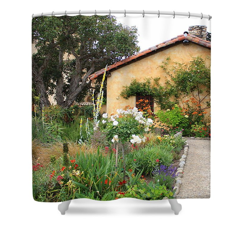 Carmel Shower Curtain featuring the photograph Carmel Mission With Path by Carol Groenen