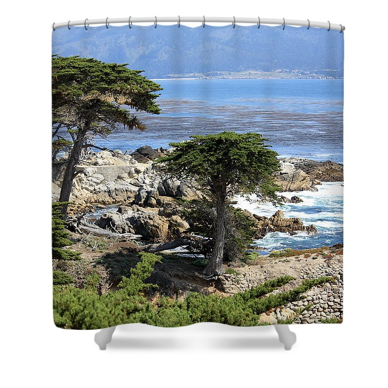 California Shower Curtain featuring the photograph Carmel Seaside With Cypresses by Carol Groenen