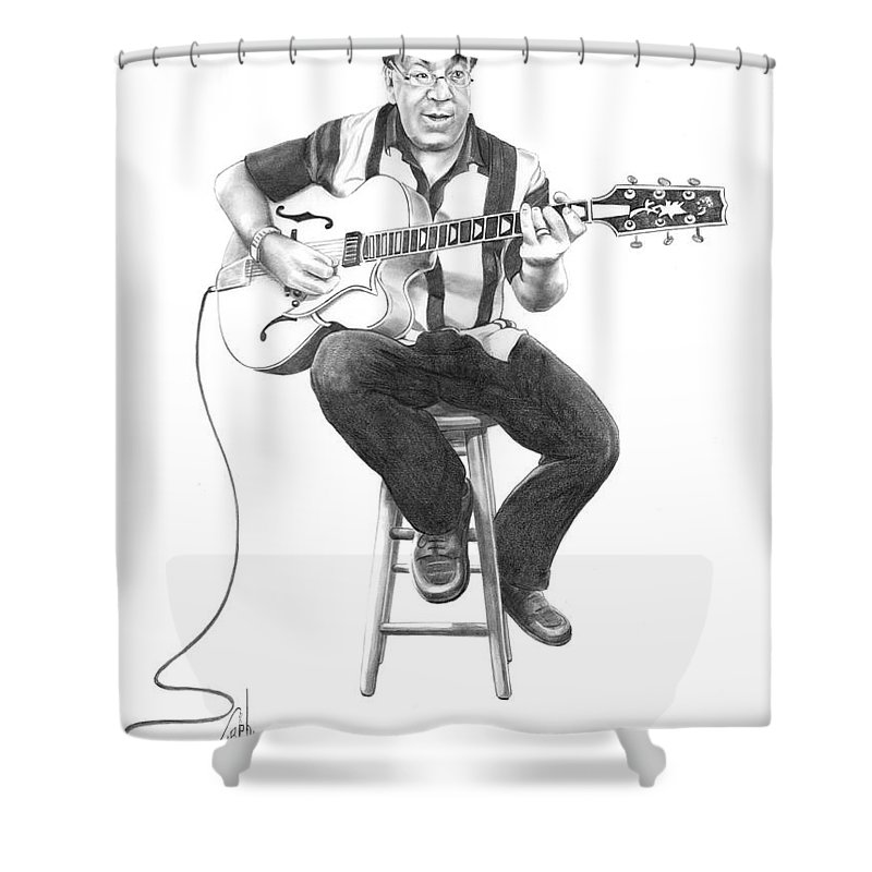Drawing Shower Curtain featuring the drawing Carmine D'amico by Murphy Elliott