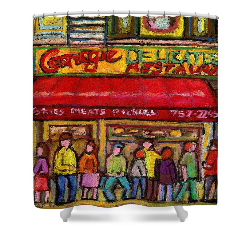 Carnegie's Deli Shower Curtain featuring the painting Carnegie's Deli by Carole Spandau