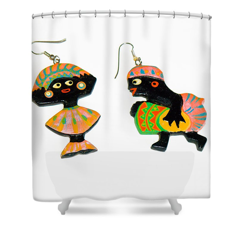 Earrings; Carnival; African; American; Afro; Woman; Pierced; Ears; Hoops; Dancer; Drummer; Celebrati Shower Curtain featuring the photograph Carnival by Allan Hughes