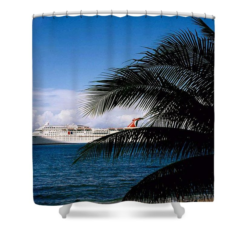Druise Shower Curtain featuring the photograph Carnival Docked At Grand Cayman by Gary Wonning