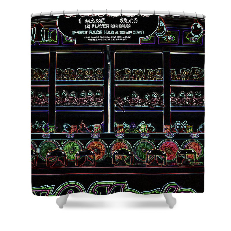 Carnival Shower Curtain featuring the digital art Carnival Game On Velvet by Anne Cameron Cutri