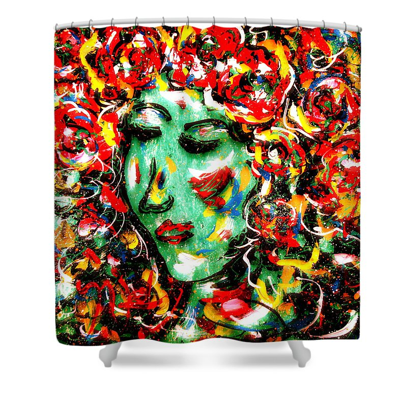 Girl Shower Curtain featuring the painting Carnival Girl by Natalie Holland