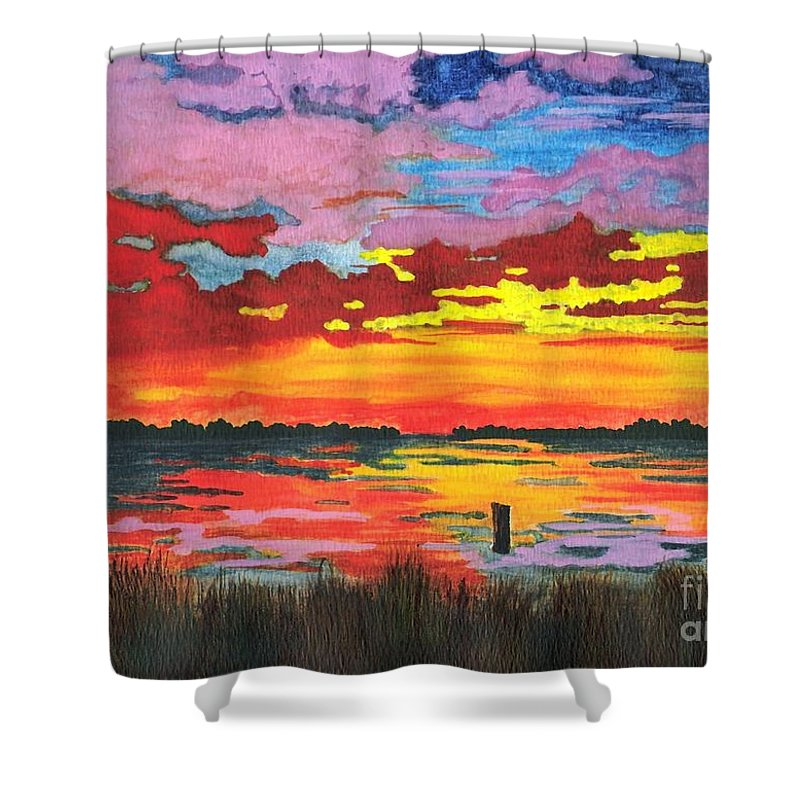 Original Painting Shower Curtain featuring the painting Carolina Sunset by Patricia Griffin Brett