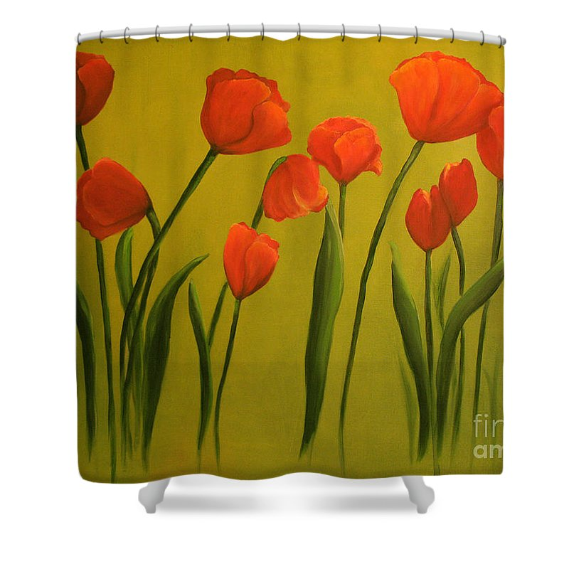 Red Shower Curtain featuring the painting Carolina Tulips by Carol Sweetwood
