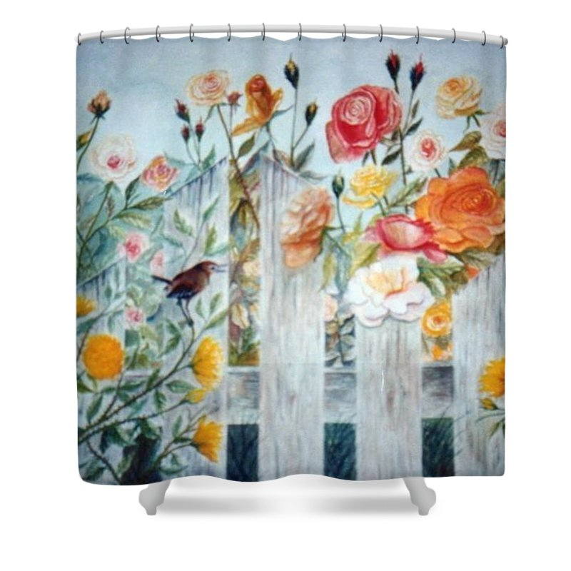 Roses; Flowers; Sc Wren Shower Curtain featuring the painting Carolina Wren And Roses by Ben Kiger