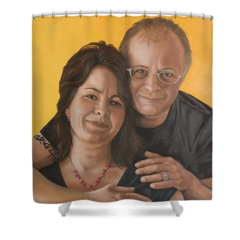 Portrait Shower Curtain featuring the painting Caroline And Rob by Rob De Vries