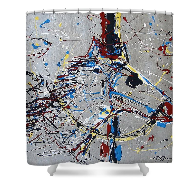 Carousel Horse Shower Curtain featuring the mixed media Carousel Horse by J R Seymour
