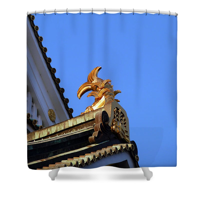 Golden Carp Motif Shower Curtain featuring the photograph Carp In Sunshine by Baato