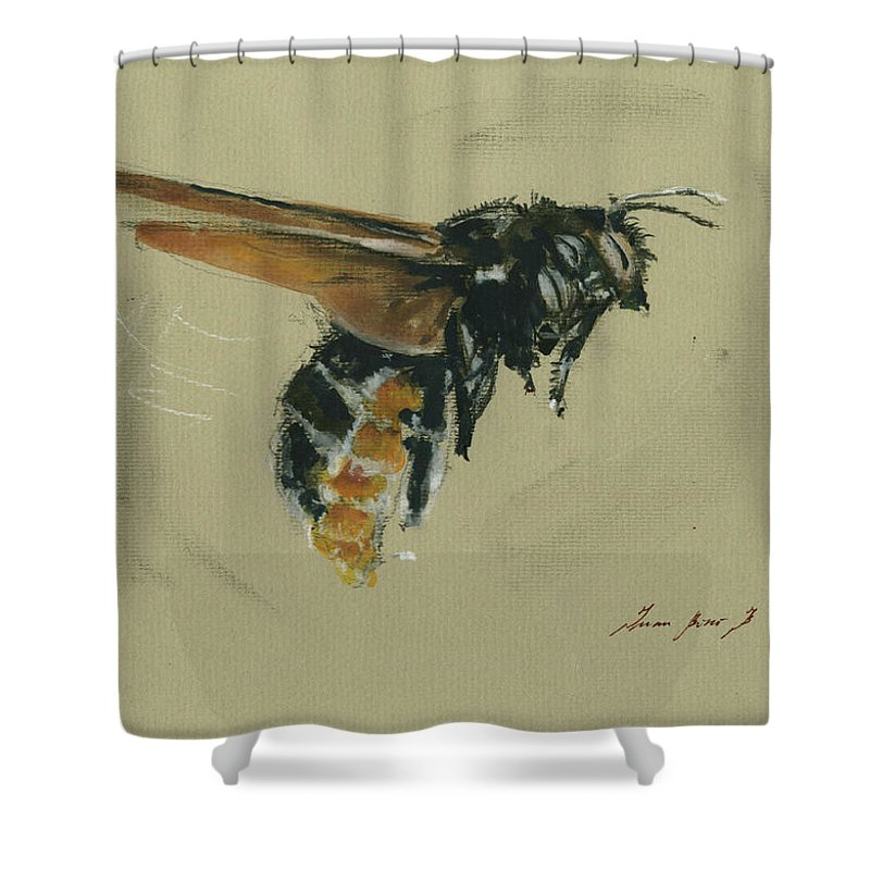 Honey Bee Art Shower Curtain Featuring The Painting Carpenter By Juan Bosco