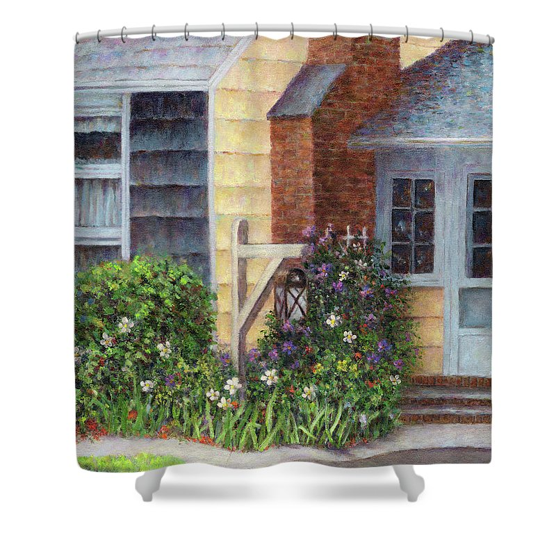 House Shower Curtain featuring the painting Carriage Lamp by Susan Savad