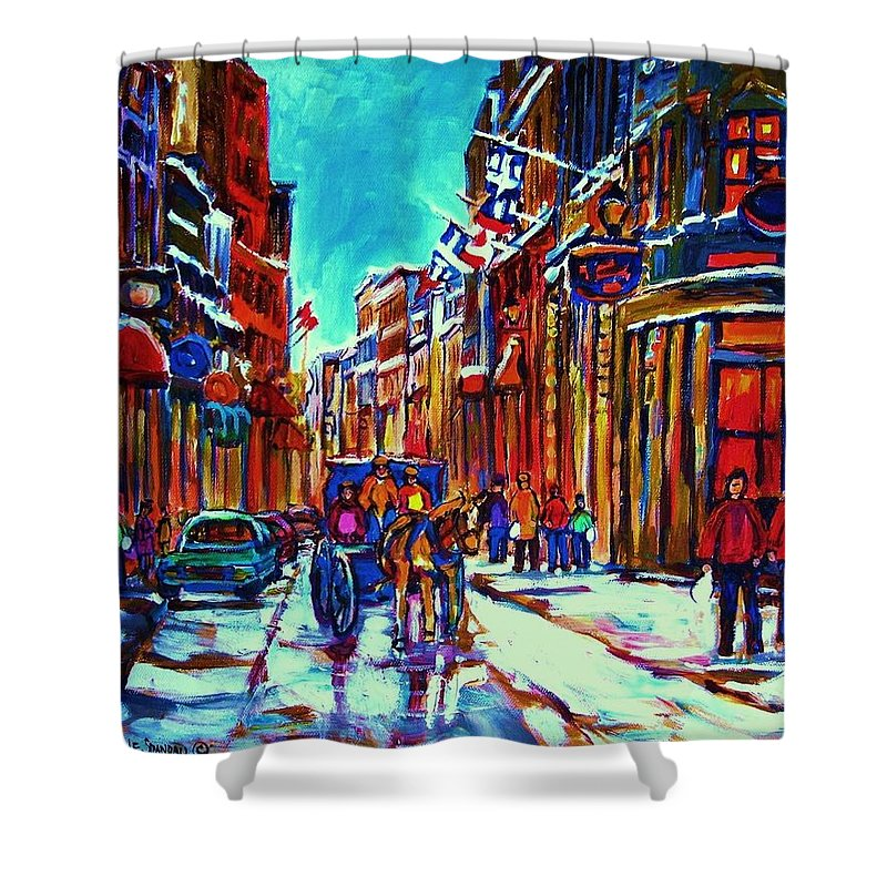Old Montreal Shower Curtain featuring the painting Carriage Ride Through The Old City by Carole Spandau