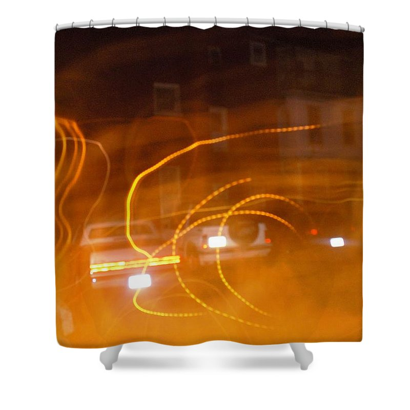 Photograph Shower Curtain featuring the photograph Cars On Fire by Thomas Valentine
