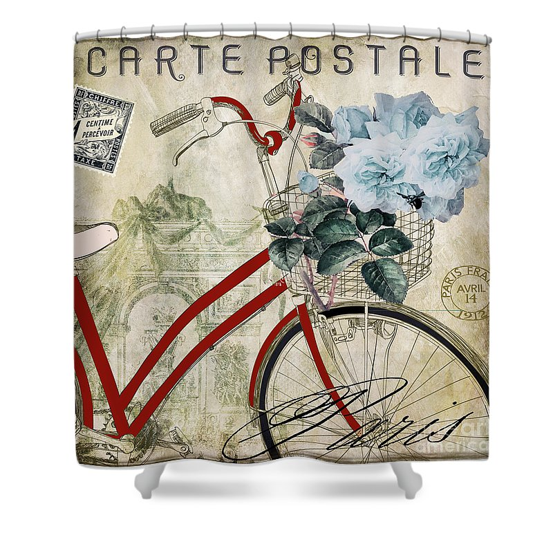 Nice Bicycle Shower Curtain Featuring The Painting Carte Postale Vintage Bicycle  By Mindy Sommers