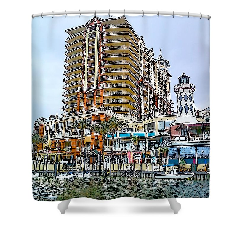 Cartoon Shower Curtain featuring the photograph Cartoon Skyscraper by Michelle Powell