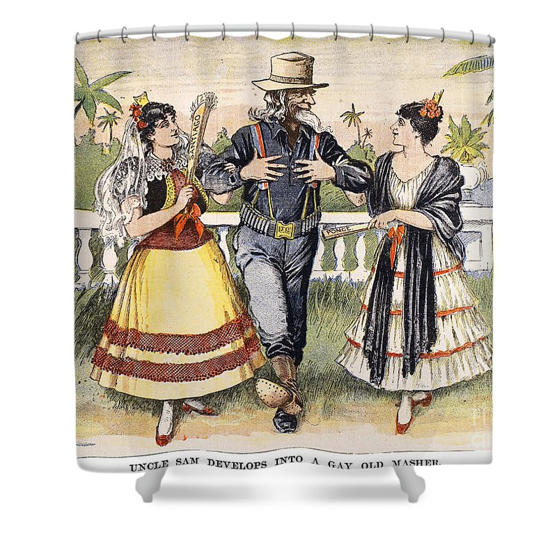 1898 Shower Curtain featuring the photograph Cartoon: Uncle Sam, 1898 by Granger