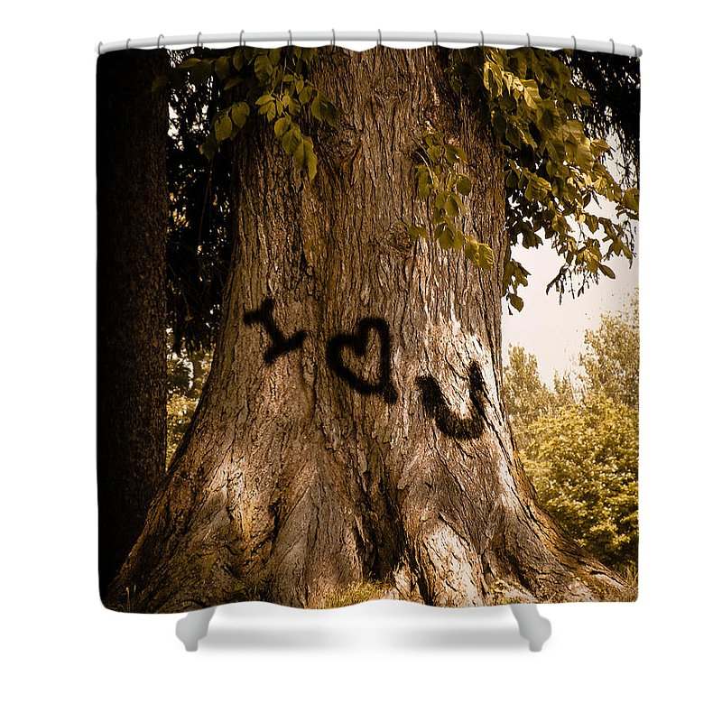 Tree Shower Curtain featuring the photograph Carve I Love You In That Big White Oak by Trish Tritz