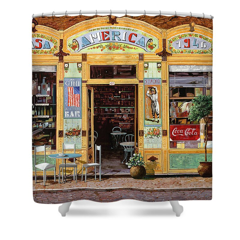 Coffe Shop Shower Curtain featuring the painting Casa America by Guido Borelli