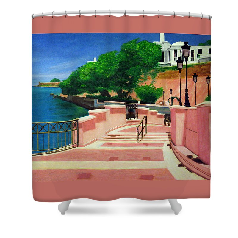 Landscape Shower Curtain featuring the painting Casa Blanca - Puerto Rico by Tito Santiago