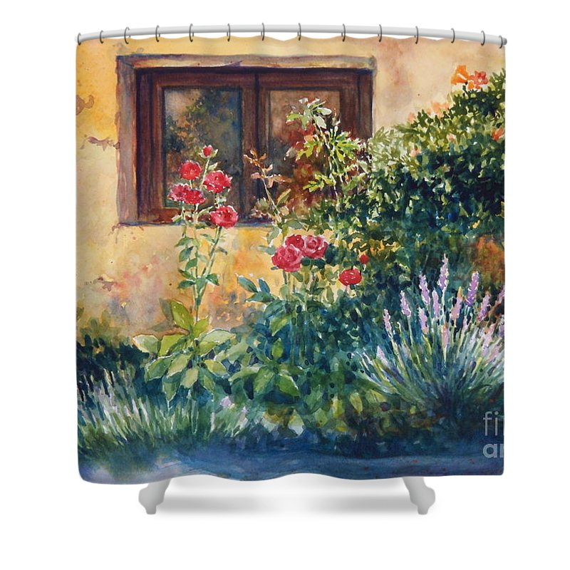 Roses Shower Curtain featuring the painting Casale Grande Rose Garden by Ann Cockerill