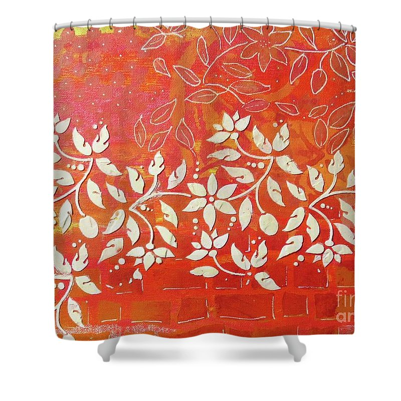 Contemporary Art Shower Curtain featuring the mixed media Cascade by Desiree Paquette