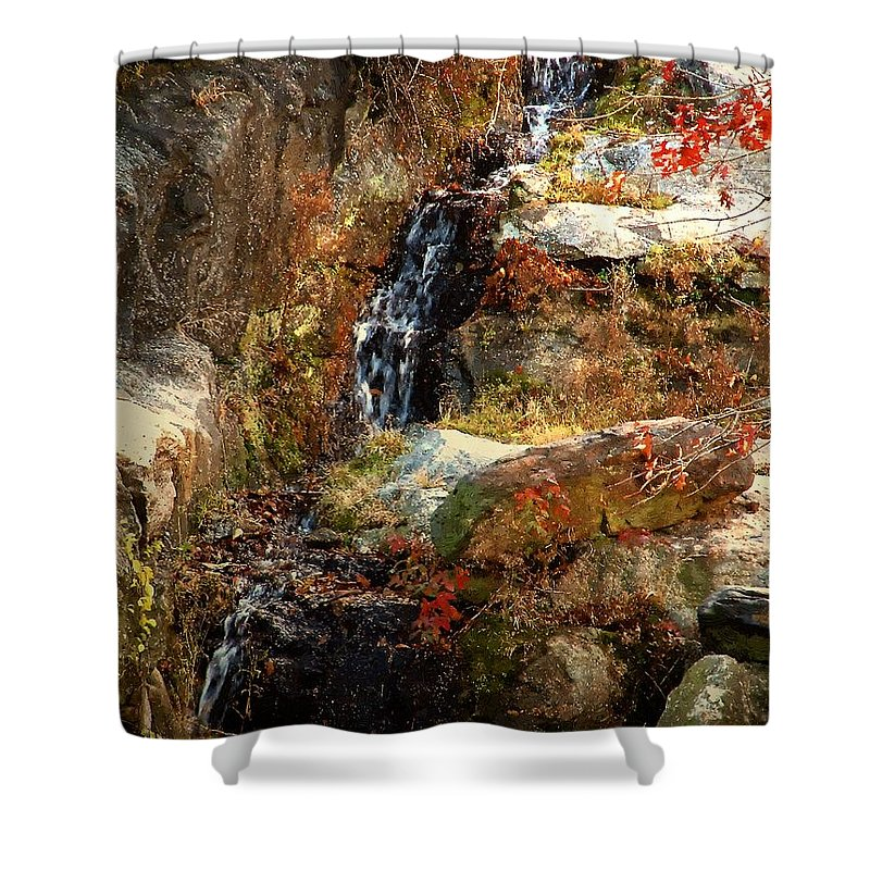 Waterfall Shower Curtain featuring the painting Cascade Glorious by RC DeWinter