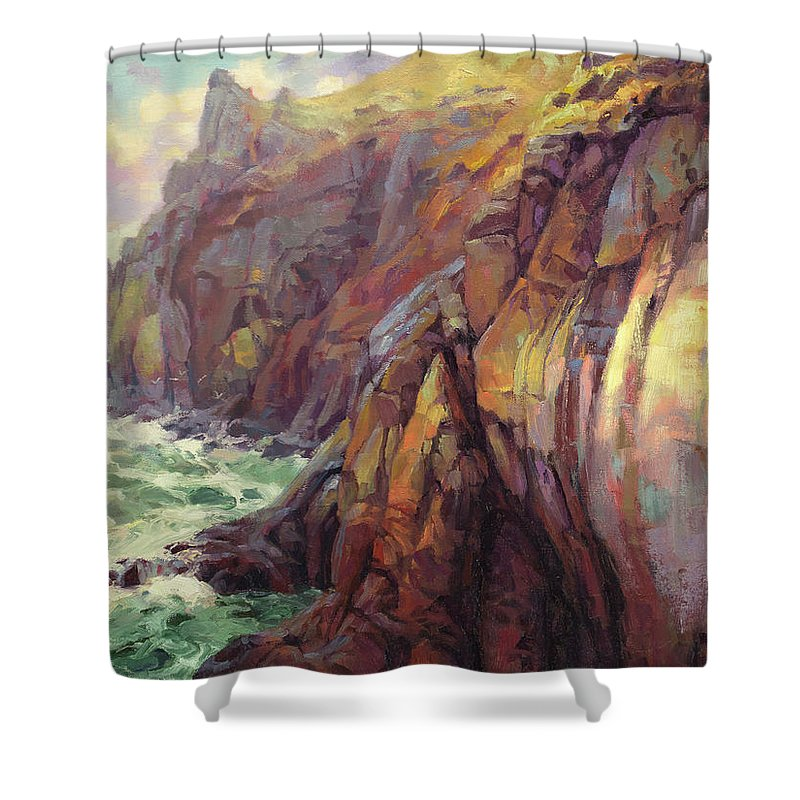 Sea Shower Curtain featuring the painting Cascade Head by Steve Henderson