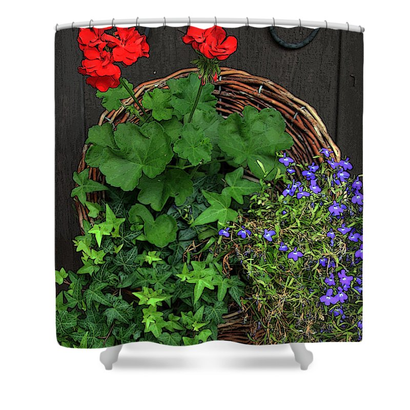 Basket Of Flowers Shower Curtain featuring the photograph Cascade Of Flowers by Joanne Coyle