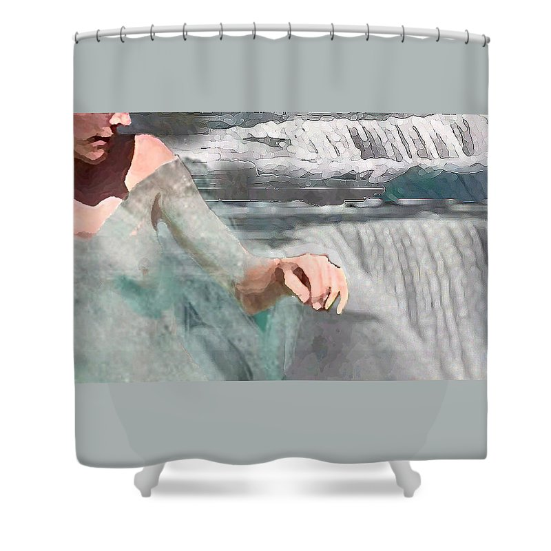 Waterscape Shower Curtain featuring the digital art Cascade by Steve Karol