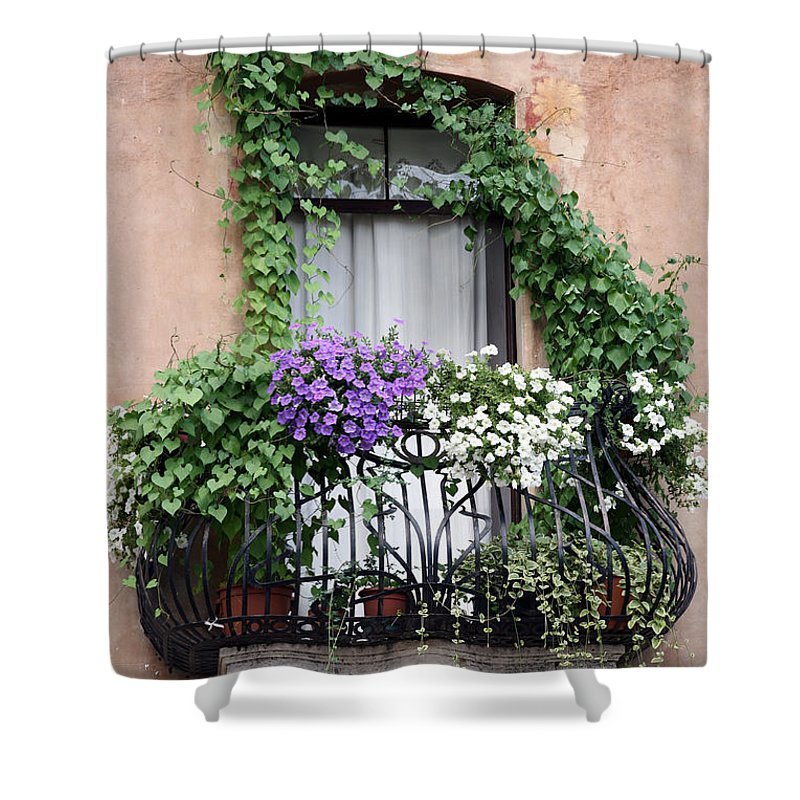 Windows And Doors Shower Curtain featuring the photograph Cascading Floral Balcony by Donna Corless