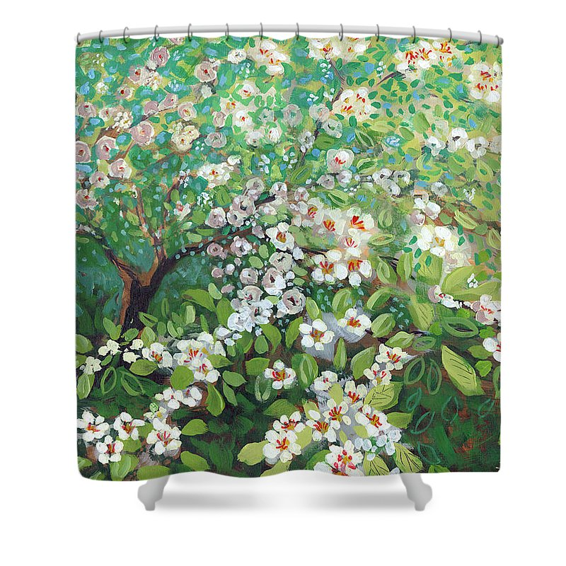 Landscape Shower Curtain featuring the painting Cascading by Jennifer Lommers