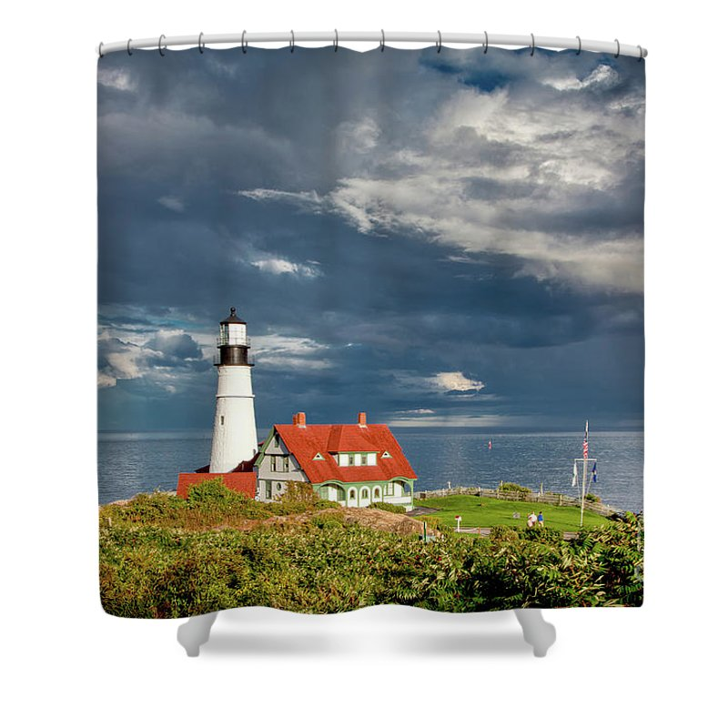 Beautiful Clouds Shower Curtain featuring the photograph Casco Bay Lookout by Susan Cole Kelly