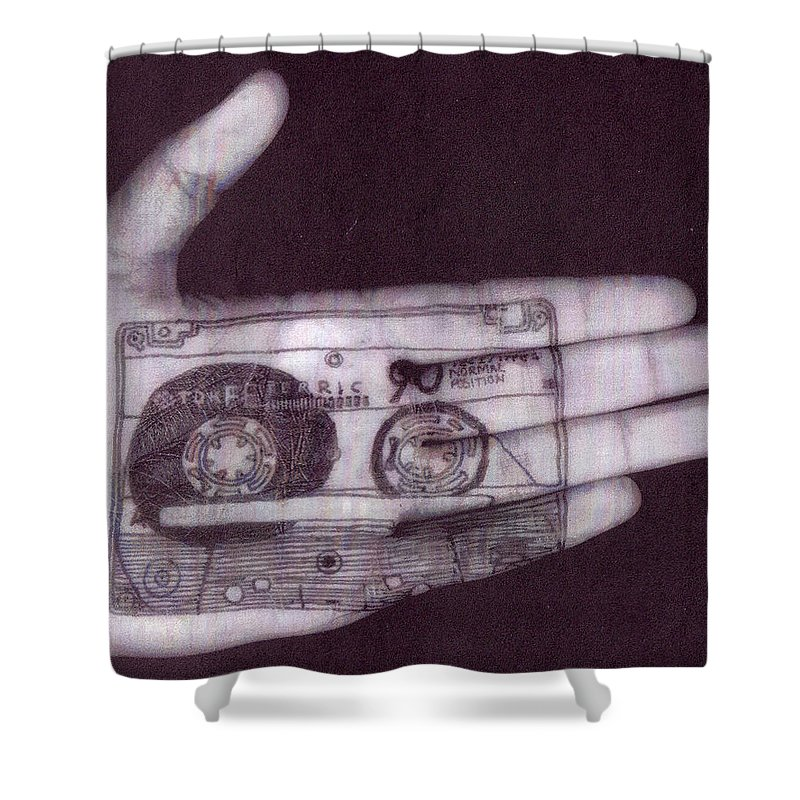 Cassette Shower Curtain featuring the digital art Cassette by Mery Moon